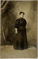 RPPC Pretty Victorian Era Lady Posing Studio Real Photo Postcard