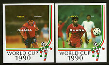 GHANA FOOTBALL WORLD CUP ITALY 1990 PAIR OF IMPERFORATE MINIATURE SHEETS MNH