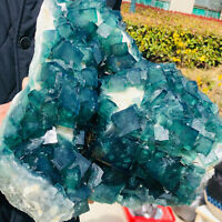 15.7LB NATURAL Green Cubic FLUORITE Crystal Cluster Mineral Specimen from Congo