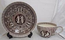 Large Copeland Spode Cup Saucer Sepia Transfer Greek Design