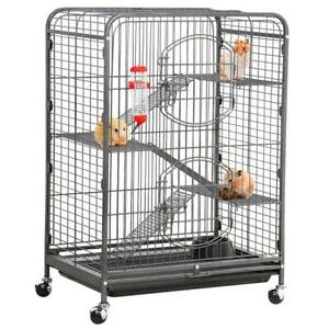 Small Animal Cage for Large Rat Guinea Pig with Pull Out Tray Black Metal 37