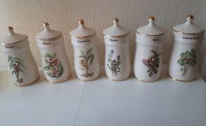 Vintage Six Flower Fairies Ceramic Herb Pots And Lids mint ginger tumeric etc