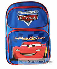 Disney Pixar Cars McQueen Large Back to School Canvas Backpack Book Bag 16""