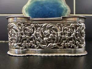 A VICTORIAN SOLID SILVER WITH BLUE VELVET INTERIOR JEWELLERY BOX