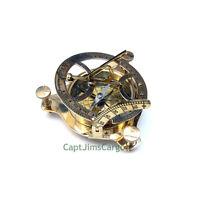 "Brass Compass & Folding Sundial 4.25"" w/ Wooden Case Decorative Nautical Gift"