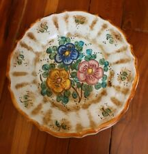 VTG DERUTA Italy Hand painted Floral Ceramic 8 inch Wall Plate Majolica Pottery