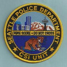 SEATTLE WASHINGTON POLICE CSI CRIME SCENE INVESTIGATOR PATCH