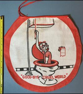 Vintage 1950s Toilet Lid Cover Goodbye Cruel World Humor Gag Bathroom Cotton Red