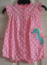 "NWT Infant Girls ""CARTER'S"" Pink With White Polka Dots One Piece Romper 6M"