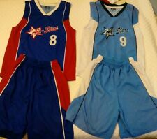 2 Youth All -Stars basketball jersey and short Blue set size 12  pre owned SIO
