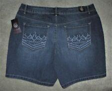 "Gloria Vanderbilt Size 8 Embellished ""Majesty"" Blue Wash Stretch Jean Shorts"