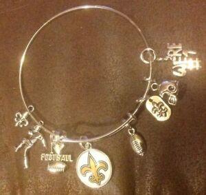New Orleans Saints 8 Charm Bracelet Jewelry Silver Helmet Football 🏈 White