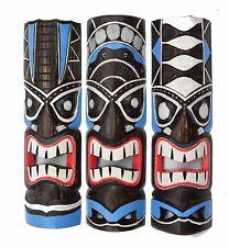 3 Tiki Masks 50cm Tiki Wall Masks Wooden Masks Hawaii Maui Mask Wall Mask