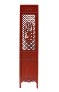 Chinese Red Geometric Flower Bird Accent Narrow Floor Panel Headboard cs3566
