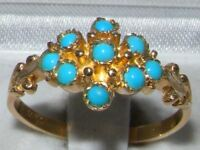 ENGLISH MADE GENUINE ANTIQUE DESIGN SOLID 9CT GOLD NATURAL TURQUOISE RING