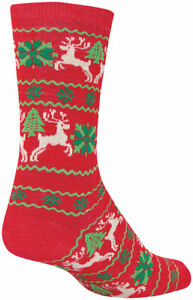 SockGuy Wool Ugly Sweater Red Crew Socks - 6 inch, Red/Green, Large/X-Large