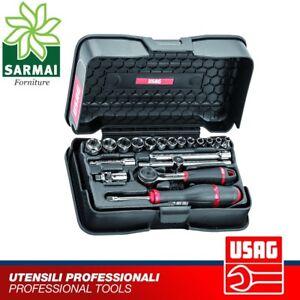 USAG 606 1/4 EA Assortimento 19 pezzi in cassetta ABS bussole cricchetto snodo
