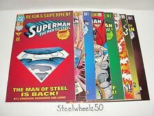 Superman Reign Of Supermen 8 Die-Cut & Newsstand Variant Comic Lot DC 1993 Steel