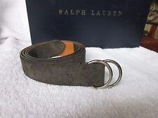 NEW $300 Ralph Lauren Double O Ring Belt Mens  XL  Sage  Green Suede
