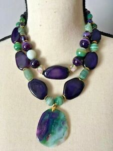 Amazing Bold Statement Fantabulos Necklace Onyx Agate JEIQUE House lagenlook
