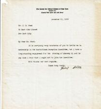Philosopher Felix Adler 1919 Signed Letter - Ethical Culture, Euthanasia, Social