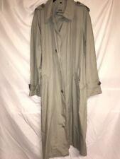 LONDON FOG Trench Coat Rain Khaki Green Button Men's Size 42 Long