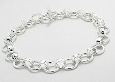 "10.32g Solid Sterling Silver 7mm Charm 8"" Bracelet Starter Add Your Own Charms"