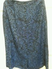 VINTAGE CRAZY HORSE SIZE LARGE BLUE PAISLEY LONG SKIRT 100%RAYON