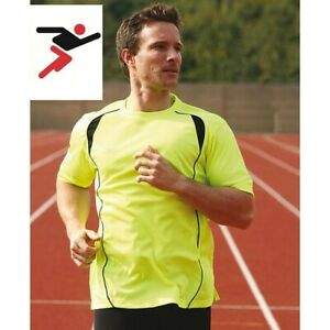 Precision Hi Viz Running Cycling High Visibility T-Shirt Top Yellow