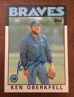 KEN OBERKFELL 1986 TOPPS AUTOGRAPHED SIGNED AUTO BASEBALL CARD BRAVES 334