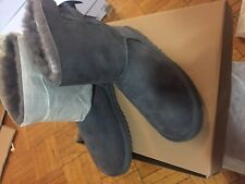 UGG BAILEY BOW GREY SUEDE SHEEPSKIN BOOTS SIZE US 6 EUR 37
