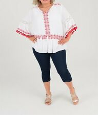 Plus Sizes White & Red Embroidered  Viscose Crinkle Tunic / Top Size 22