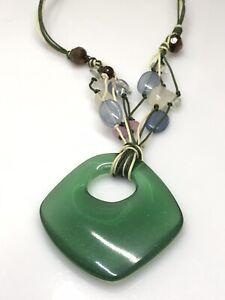 AVON Vintage Necklace Green Pendant  Beads Costume Jewellery Resin Statement