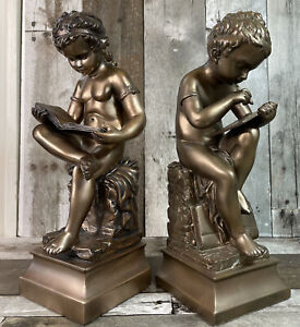 """Boy and Girl """"Reading and Writing"""" Bronze Colored Clad Bookends"""