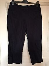PER UNA NAVY LINEN CROPPED TROUSERS SIZE 12