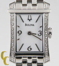 Bulova Woman's Stainless Steel Quartz Watch w/ White Dial & Diamond Bezel 96R186
