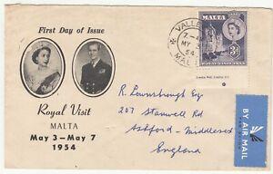 Malta: QE2 Royal Visit FDC: Valletta to Ashford, Middlesex, UK, 3 May 1954