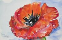 red poppy flower garden still life collectible 6x9 watercolor painting Delilah