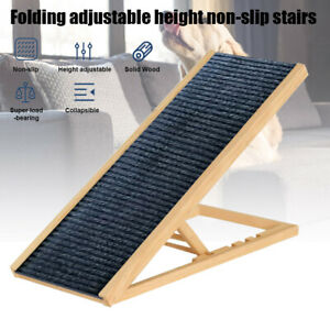 Dog Ramp Pet Ramp 4 Adjustable Heights Bed/Couch Portable Dogs Stairs Folds Flat