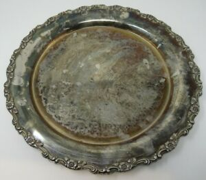 """Oneida Silversmiths 15"""" Round Silverplate Charger Serving Tray 1900-39 Georgian"""