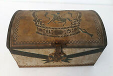 Vtg Collectible Tin Treasure Chest Trinket Box Metal Crown Joust Rusty W Germany