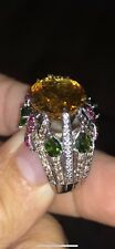 14k White Gold Diamond Golden Citrine Peridot Ruby Ring