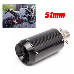 51mm Motorcycle Scooter Slip-On Carbon Fiber Steel Exhaust Muffler w/DB Killer