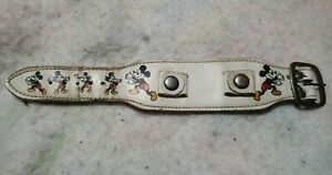 Vintage Walt Disney Productions Leather Watch Band Bracelet White Mickey Mouse
