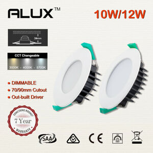 Led Downlight Kit CCT White Dimmable 10W 12W 70/90mm Cutout Flat/Concave Face