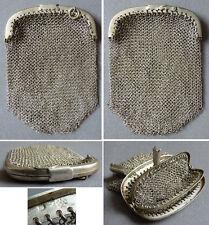 Bourse aumonière sac cote de maille ARGENT massif vers 1900 silver bag