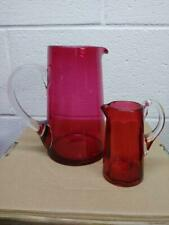 Antique Hobbs Glass Co./ Cranberry/Ruby No.91 Pitcher /Jug - Pair
