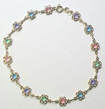 """inch Long Multi-Color Stones # 29 Gold Filled Flower Ankle Bracelet 10"""""""