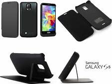 Cover + batteria riserva per Galaxy S5.Nero o Bianco,ricaricabile,custodia. Flip
