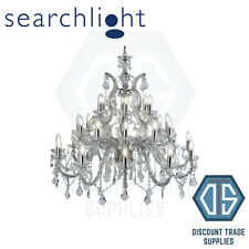 3314-30 SEARCHLIGHT MARIE THERESE CHROME 30 LIGHT CHANDELIER WITH CRYSTAL DROPS